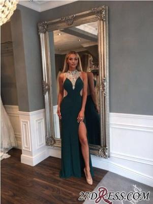 Mermaid Luxury Crystal High-Neck Front-Split Zipper Prom Dress UK_2