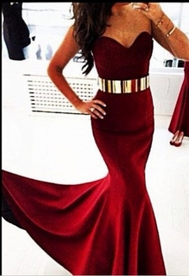 Elegant Sweetheart Sleeveless Mermaid Prom Dress UK With Golden Sash_1