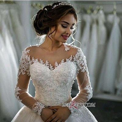 Ball-Gown Beaded Lace Sheer Long-Sleeves Wedding Dresses UK BA4150_3