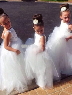 Lovely Tulle Princess Jewel Flower Girl Dress Floor-length