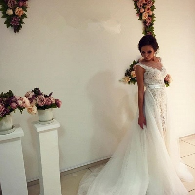 Gorgeous Lace Tulle Wedding Dress Removal Train Cap Sleeve Illusion_5