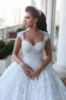 Elegant Cap Sleeve Lace Wedding Dresses UK Ball Gown With Train  BA3022_4