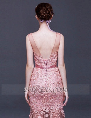 Luxury Beadings Appliques Mermaid Prom Dress UK Lace-Up Sleeveless Evening Gowns_3