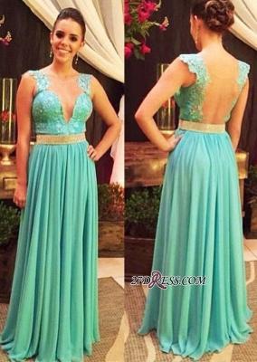 V-neck Lace Beading Floor-length Straps Hollow Blue Evening Dress UK_2
