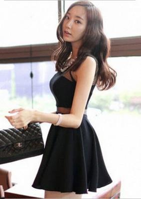 Elegant Black Two Piece Homecoming Dress UK Beading Mini Sleeveless_3