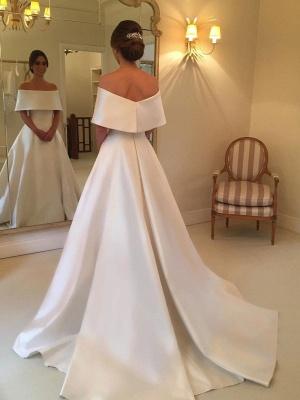 Simple White Off-the-shoulder A-line Wedding Dress | Elegant Bridal Gown_3