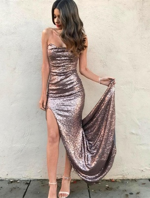 Elegant Strapless Sequins Mermaid Prom Dress UK Front Split On Sale_1