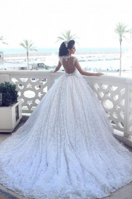 Elegant Cap Sleeve Lace Wedding Dresses UK Ball Gown With Train  BA3022_5