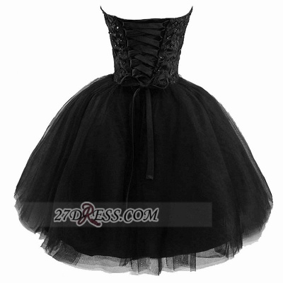 Modern Sweetheart Sleeveless Black Cocktail Dress UK Lace-up Beading Sequins Ball Gown Short Homecoming Gown_2