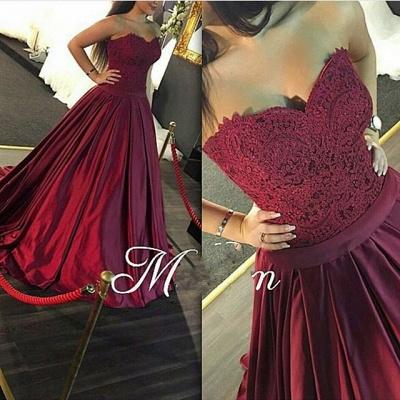 Luxury Sweetheart Lace prom Dress UK Burgundy Floor Length_3