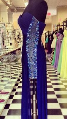 Elegant Navy Blue Sweetheart Prom Dress UKes UK Beadings Long Chiffon Party Gowns_2