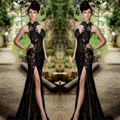 Elegant Black Prom Dress UK| Mermaid Evening Dress UK With Slit_3