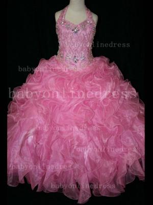 Newbron Beauty Cheap Girls Pageant Dresses Rhinestone Flower Girls Beaded Party Dresses on Sale_3