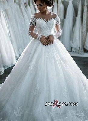 Ball-Gown Beaded Lace Sheer Long-Sleeves Wedding Dresses UK BA4150_5