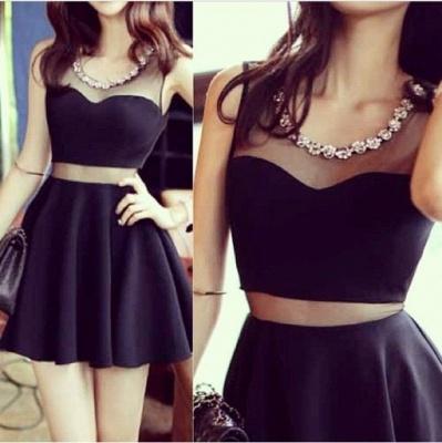 Elegant Black Two Piece Homecoming Dress UK Beading Mini Sleeveless_5
