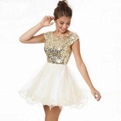Newest Sequined Mini Jewel Homecoming Dress UK Cap Sleeve A-line_3