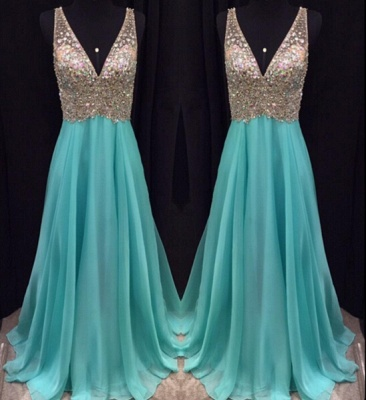 Sexy V-Neck Sleeveless crystal Prom Dress UKes UK Long chiffon Online TD055 AP0_1