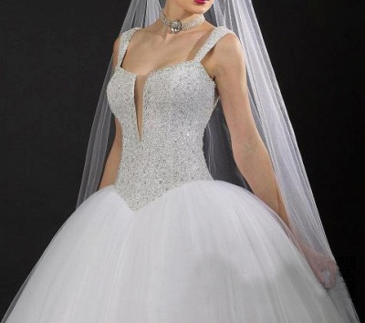 Modern V-neck Tulle Ball Gown Wedding Dress Sequins Beadss_2