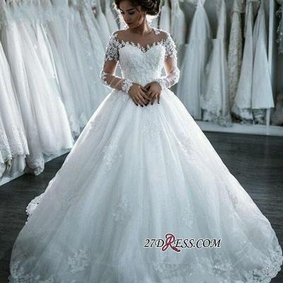 Ball-Gown Beaded Lace Sheer Long-Sleeves Wedding Dresses UK BA4150_4