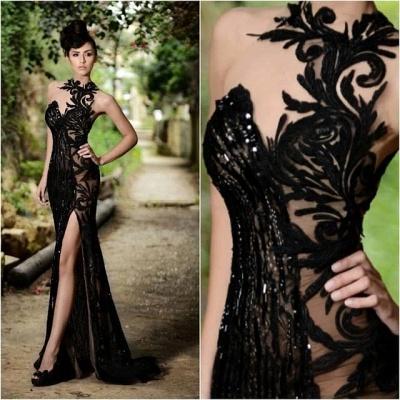 Elegant Black Prom Dress UK| Mermaid Evening Dress UK With Slit_4