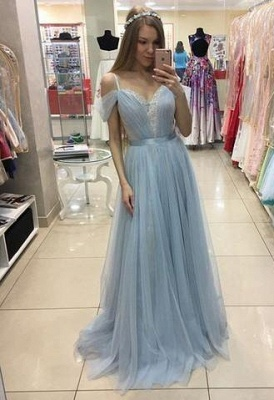 A-line Beautiful Straps Cap-Sleeves Sweep-train Tulle Prom Dress UK_1