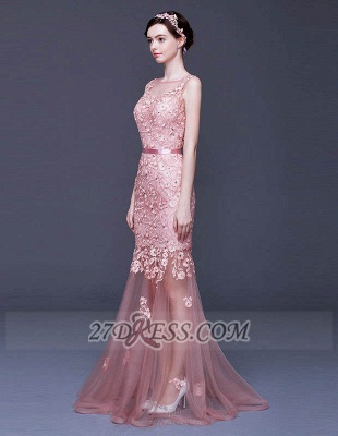 Luxury Beadings Appliques Mermaid Prom Dress UK Lace-Up Sleeveless Evening Gowns_4