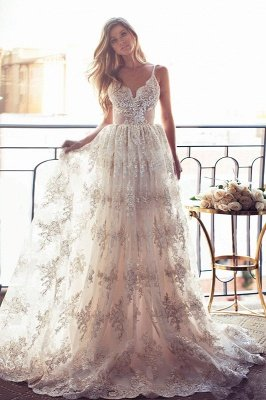 Gorgeous Spaghetti Straps Lace Wedding Dress A-Line Backless BA3364_2