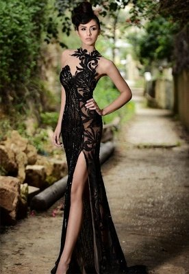 Elegant Black Prom Dress UK  Mermaid Evening Dress UK With Slit_1