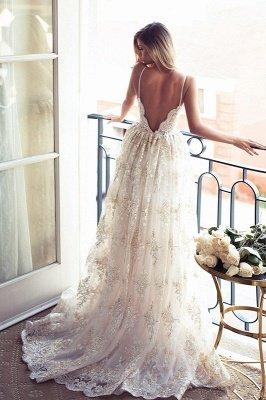 Gorgeous Spaghetti Straps Lace Wedding Dress A-Line Backless BA3364_3