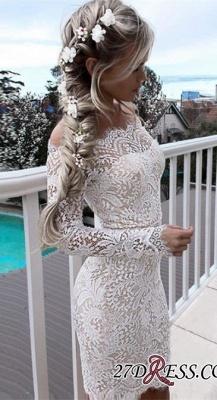 Cocktail Short Simple White Mermaid Long-Sleeve Tight Homecoming Dress UKes UK_2
