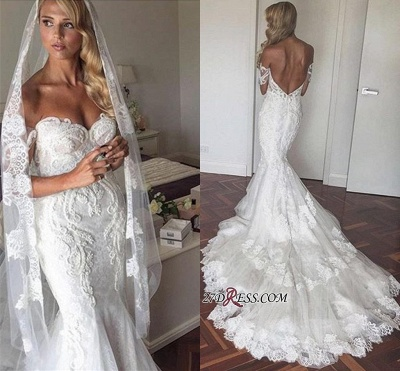 Tiered Backless Tulle Off-the-Shoulder Sexy Mermaid Appliques Elegant Wedding Dress_1