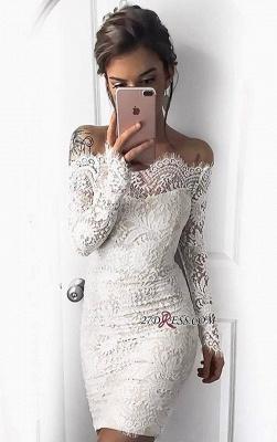 Cocktail Short Simple White Mermaid Long-Sleeve Tight Homecoming Dress UKes UK_3
