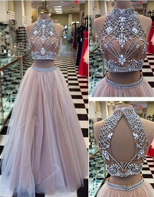 Luxury Two Pieces High-Neck Prom Dress UKes UK Beadings tulle A-Line_1