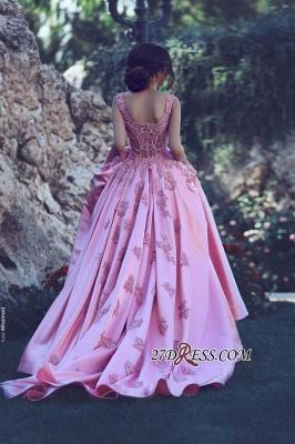 A-Line Pink Sleeveless Appliques Court-Train Gorgeous Prom Dress UK qq0228_1