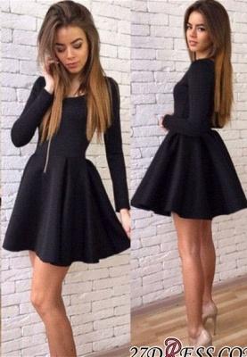 Black A-line Elegant Short Long-Sleeves Homecoming Dress UKes UK_3