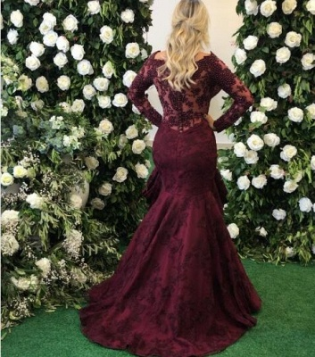 Sexy Long Sleeve Burgundy Evening Dress UK Mermaid Lace Appliques BMT_4