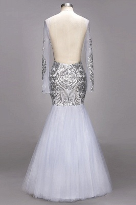 Long Sleeve Prom Dress UK | Sequins Evening Gown_3