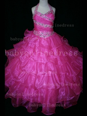 Beaded Sexy Girls Pageant Dresses for Sale Inexpensive Crystal Floor-length Organza Gowns Online_4