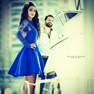 Modern Jewel Royal Blue Homecoming Dress UK Long Sleeve With Lace Appliques_3