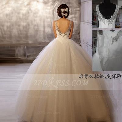 Floor-length Straps Elegant Ball Gown Wedding Dresses UK Sleeveless Beads Sequins Zipper Fashion Bridal Gowns_3