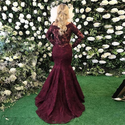 Sexy Long Sleeve Burgundy Evening Dress UK Mermaid Lace Appliques BMT_5
