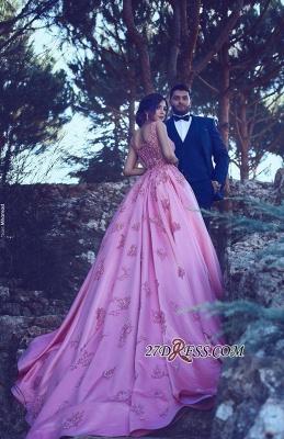 A-Line Pink Sleeveless Appliques Court-Train Gorgeous Prom Dress UK qq0228_5