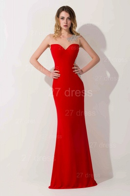 Elegant Mermaid Red Illusion Evening Dress UK Crystals Floor-length_2