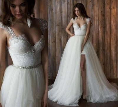 Elegant Cap Sleeve Lace Wedding Dress Tulle Detachable_3
