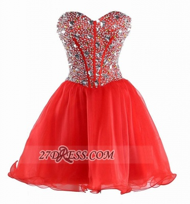 Gorgeous Semi-sweetheart Sleeveless Cocktail Dress UK Lace-up Tulle Short Homecoming Gown_1