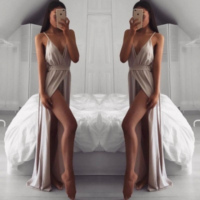 Sexy V-Neck Prom Dress UK | Long Evening Dress UK With Split_3