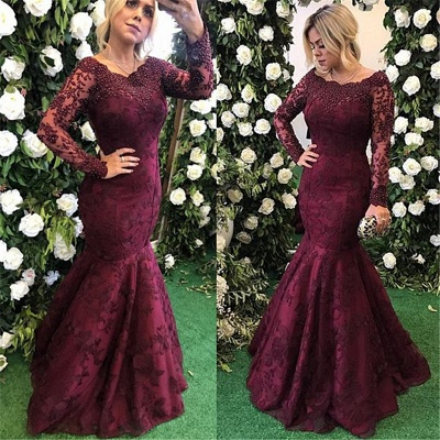 Sexy Long Sleeve Burgundy Evening Dress UK Mermaid Lace Appliques BMT_3