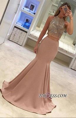Two-Piece Beads Sleeveless Mermaid Luxury Prom Dress UK BA4523_2