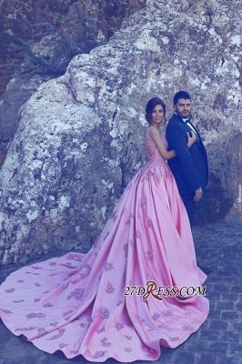 A-Line Pink Sleeveless Appliques Court-Train Gorgeous Prom Dress UK qq0228_3