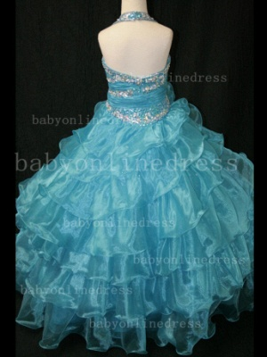 Beaded Sexy Girls Pageant Dresses for Sale Inexpensive Crystal Floor-length Organza Gowns Online_3